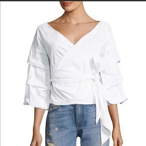 Few Moda Cotton Tiered Sleeve Wrapped Blouse